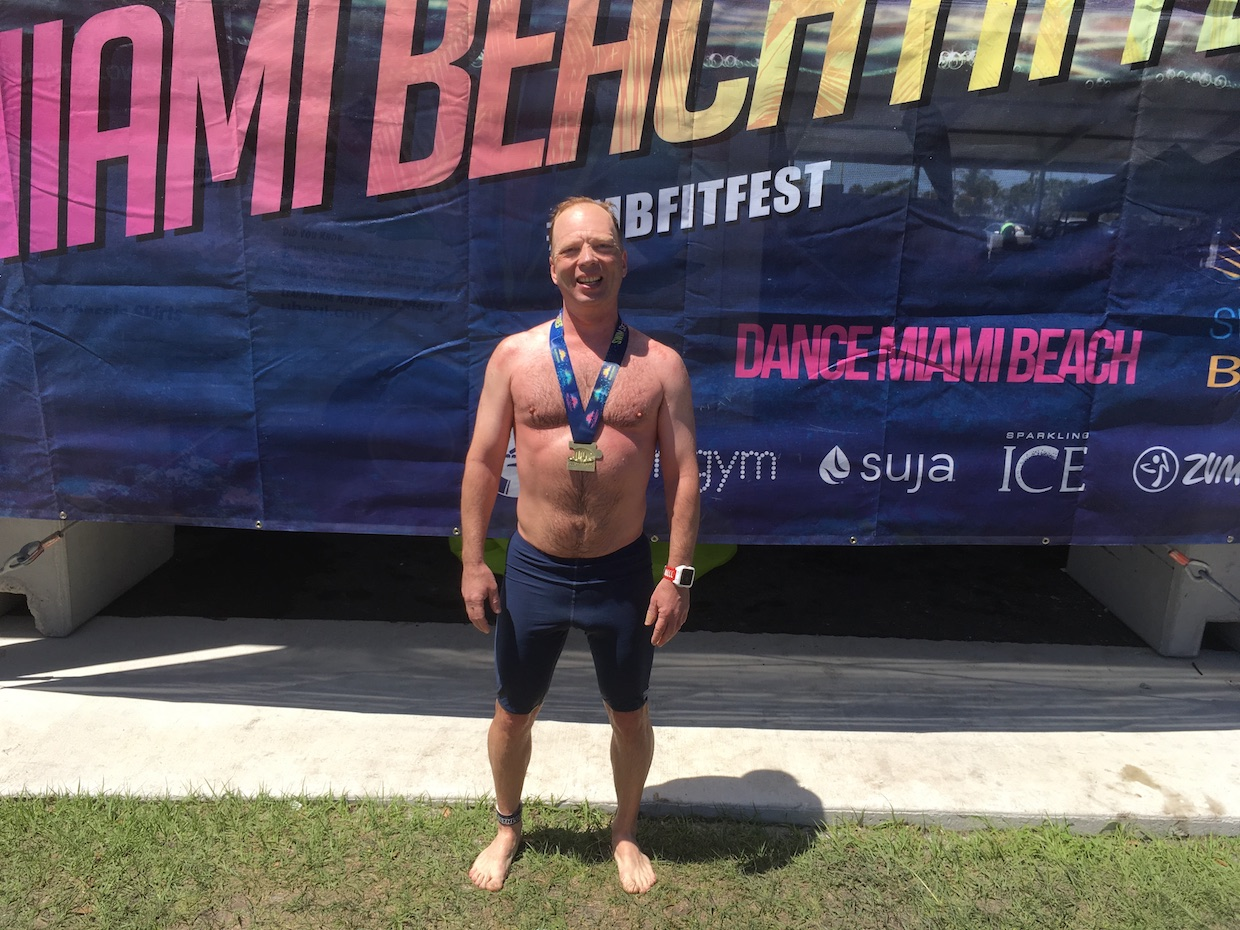 Stutisheel Oleg Lebedev after the finish of the Miami 10K Swim